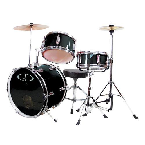 GP Percussion GP50 Complete 3-Piece Junior Child Size Drum Set, Black