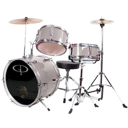 GP Percussion GP50 Complete 3-Piece Junior Child Size Drum Set, Metallic Silver