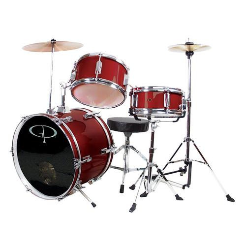 GP Percussion GP50 Complete 3-Piece Junior Child Size Drum Set, Wine Red