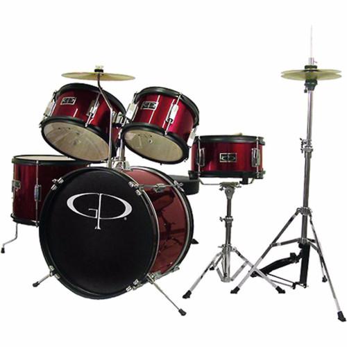 GP Percussion GP55 Complete 5-Piece Junior Child Size Drum Set, Wine Red (GP55WR)