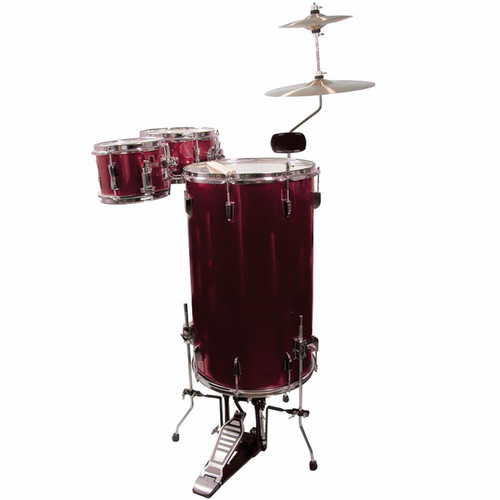 GP Percussion GP75WR Complete 3-Piece Cocktail Drum Set, Wine Red (GP75WR)