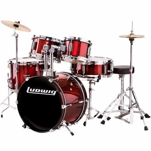Ludwig LJR106 5-Piece Junior Child Size Beginner Drum Set, Wine Red (LJR1064)