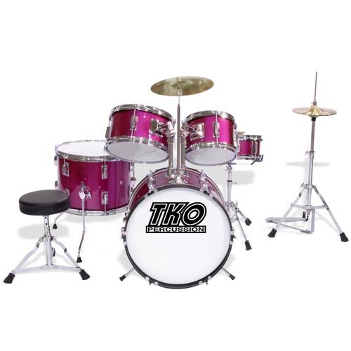 TKO Percussion TKO101 Complete 5-Piece Junior Child Size Drum Set, Magenta Pink