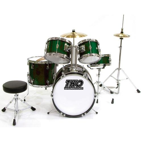 TKO Percussion TKO101 Complete 5-Piece Junior Child Size Drum Set, Metallic Green