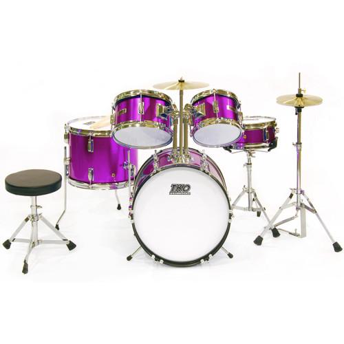 TKO Percussion TKO101 Complete 5-Piece Junior Child Size Drum Set, Metallic Purple