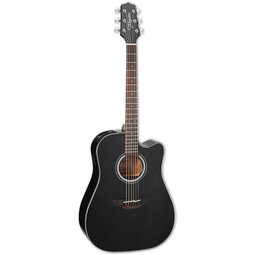 Takamine GD30CE-BLK Dreadnought Cutaway Acoustic-Electric Guitar, Black Gloss