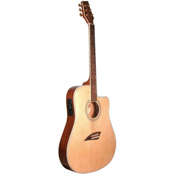 Kona K2 Thin Body Acoustic Electric Guitar, Natural (K2N)
