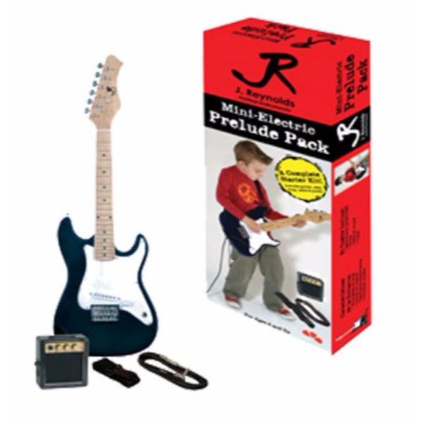 J. Reynolds JRPKSTBL Kid's Mini Electric Guitar Prelude Pack, Bodacious Blue