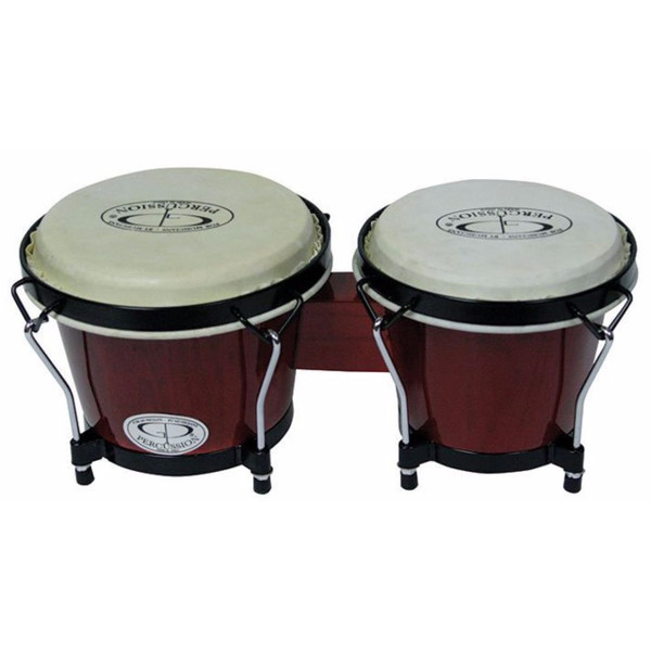 GP Percussion Select Birch Wood 6 & 7 Inch Bongo Set, Wine Red Stain