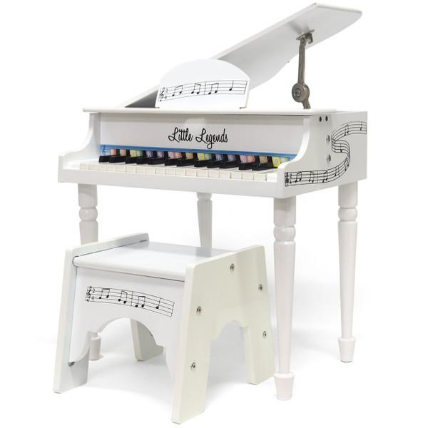Little Legends LLBGD304W 4 Leg Baby Grand 30-Key Toy Piano w/ Bench, White