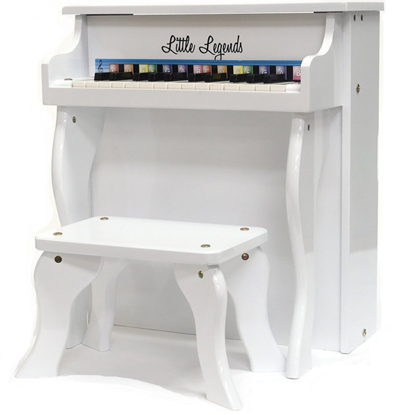 Little Legends LLSP25TWH Traditional Spinet 25-Key Upright Toy Piano, White