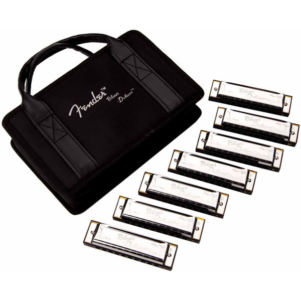 Fender Blues Deluxe 10-Hole Diatonic Harmonica 7-Pack with Case, Key of C, G, A, D, F, E, Bb (099-0701-049)