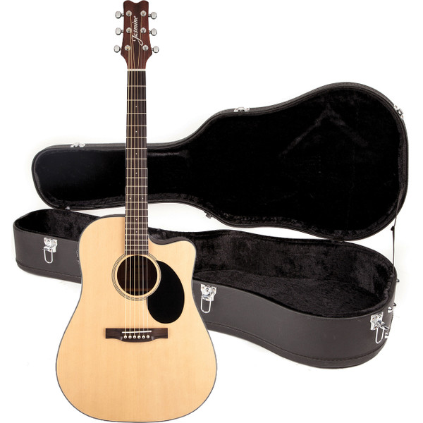 Jasmine JD39CE-NAT Dreadnought Cutaway Acoustic Electric Guitar with Case, Natural