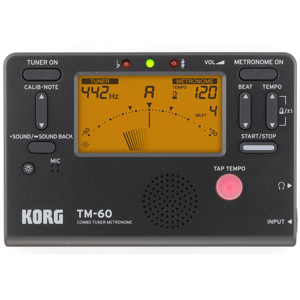 Korg TM60BK Multi-Instrument Combo Tuner & Metronome, Black
