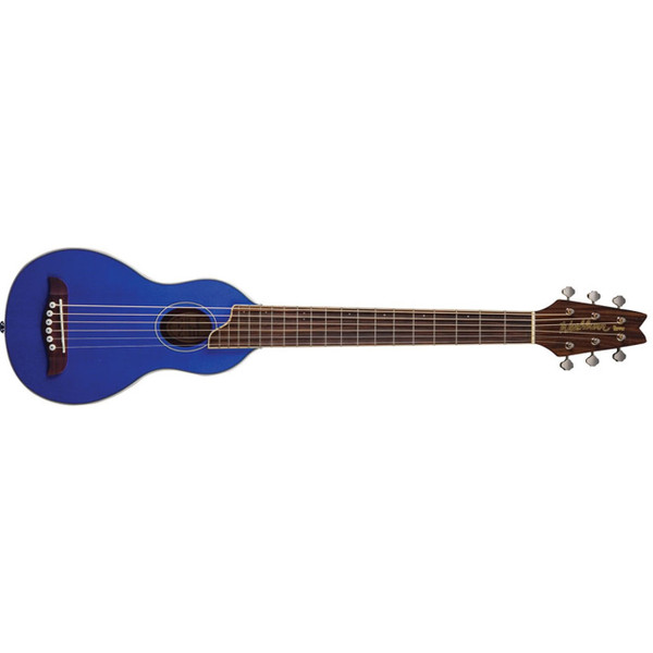 Washburn Rover RO10STBLK Travel Acoustic Guitar with Gig Bag, Trans Blue