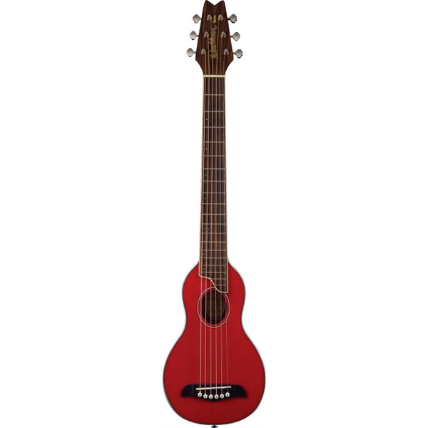 Washburn Rover RO10STRK Travel Acoustic Guitar with Gig Bag, Trans Red