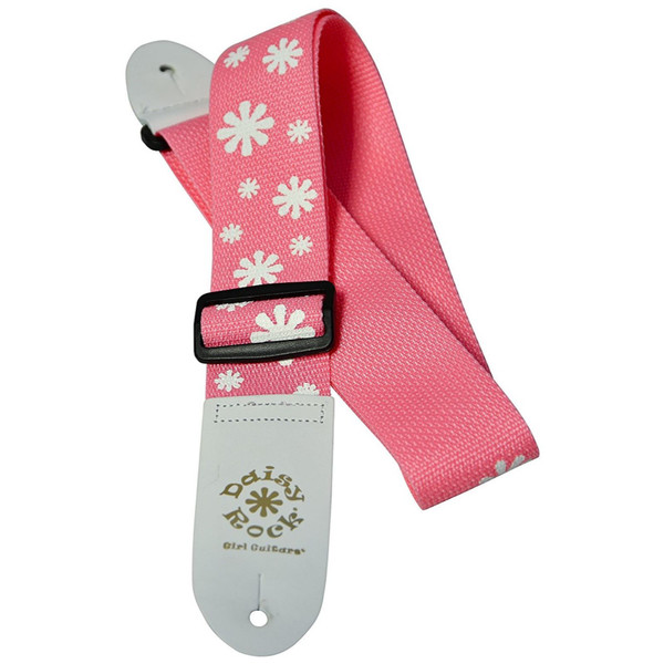 Daisy Rock DRS01 Pink Daisy Guitar Strap, Pink and White