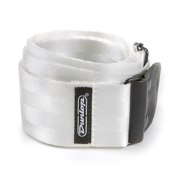 """Dunlop 2"""" Deluxe Seatbelt Guitar Strap, White (DST70-01WH)"""