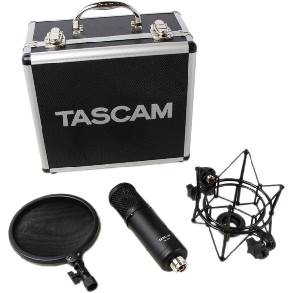 Tascam TM-280 Studio Condenser Microphone with Flight Case, Shockmount, and Pop Filter