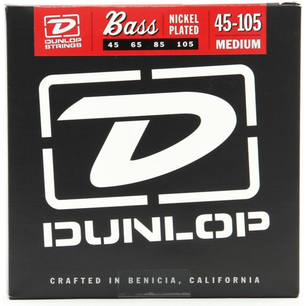 Dunlop DBN45105 Nickel Plated Steel 4-String Bass Guitar Strings, Medium 45-105 (DBN45105)