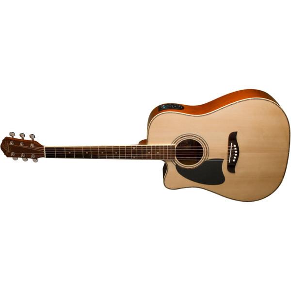 Oscar Schmidt OG2CELH Left-Handed Dreadnought Acoustic Electric Guitar, Natural (OG2CELH)