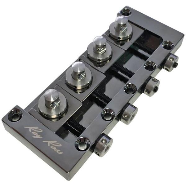 Ray Ross RRB4BN Saddle-Less 4-String Electric Bass Guitar Bridge, Black Nickel (RRB4BN)