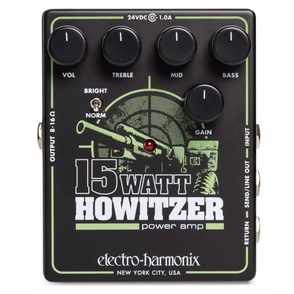 Electro-Harmonix 15W Howitzer Guitar Preamp/Power Amp Effects Pedal (15W HOWITZER)