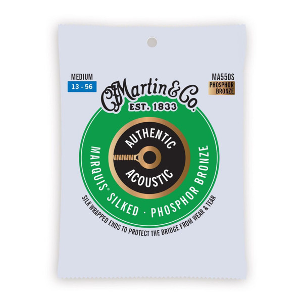Martin MA550S Authentic Acoustic Marquis Silked Phosphor Bronze Acoustic Guitar Strings, Medium 13-56 (MA550S)