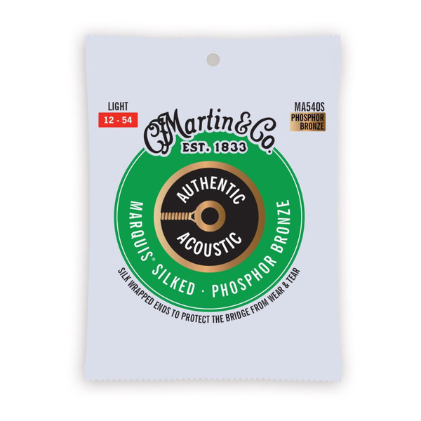 Martin MA540S Authentic Acoustic Marquis Silked Phosphor Bronze Acoustic Guitar Strings, Light 12-54 (MA540S)