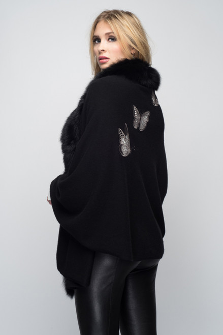Black Cashmere Shawl with Fox Fur & Embroidered Butterflies in Gunmetal