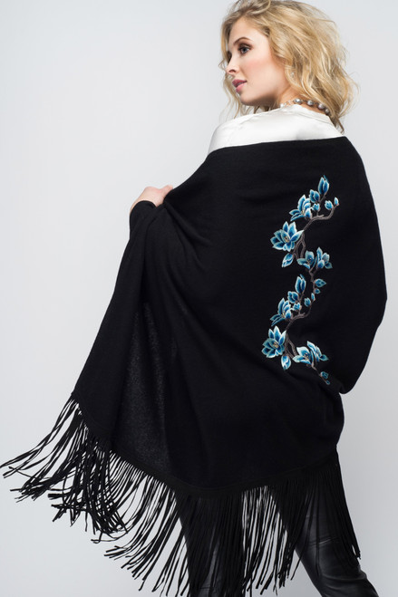 Black Cashmere Shawl with Suede Fringe & Embroidered Flowers
