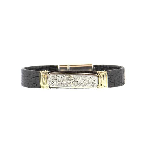 Black Shimmer Mala Mala Leather Bracelet with a Silver Druzy