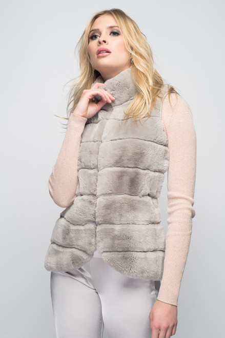 Cashmere & Rex Rabbit Vest in Dove Gray