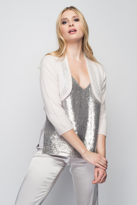 Cashmere Bolero with Crystal Shawl Collar in Shell