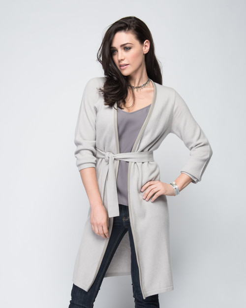 Cashmere Duster with Leather Trim in Dove Gray