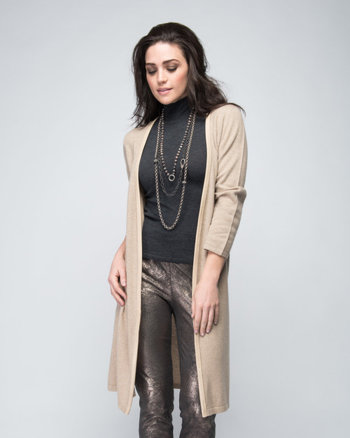 Cashmere Duster with Leather Trim in Safari