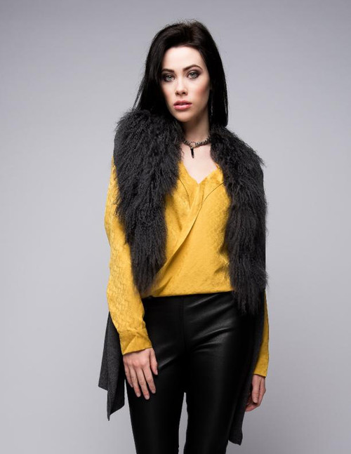 Cashmere Gilet/Vest with Curly Tibetan Sheep Fur in Charcoal
