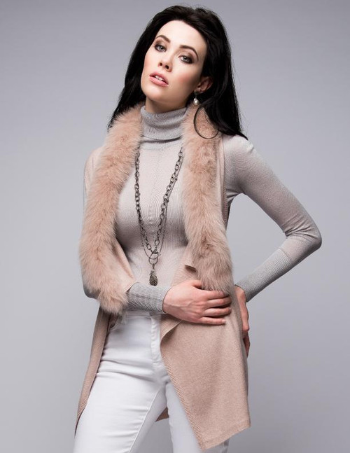 Cashmere Gilet/Vest with Fox Fur in Blush