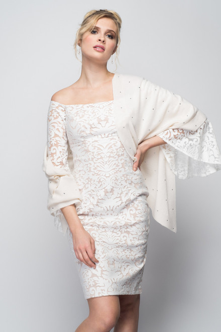 Cashmere Stole with Crystals in Ivory