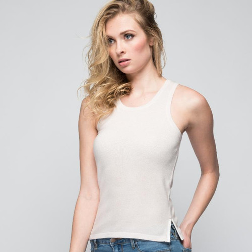 Cashmere Tank Top with Leather Piping in Shell