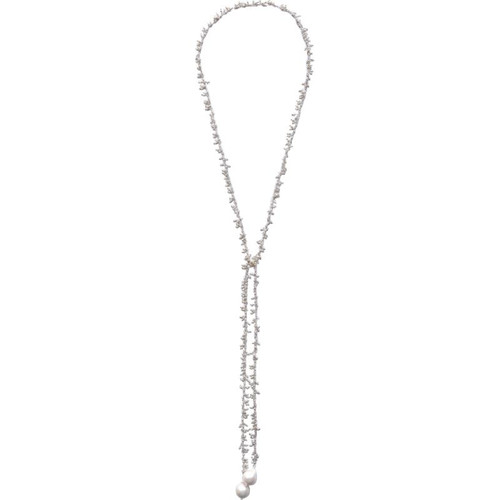 Dangling White Baroque Pearl Lariat in Sterling Silver