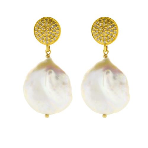 Diamond & White Baroque Pearl Drop Earrings in Gold