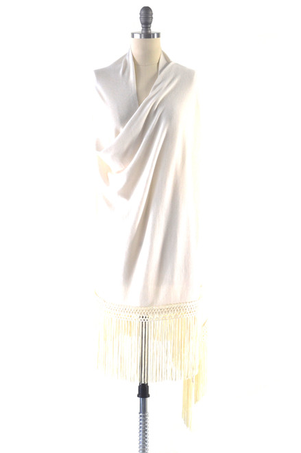Fine Cashmere Wrap with Silky Macrame Fringe in Ivory