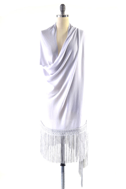Fine Cashmere Wrap with Silky Macrame Fringe in Silver Gray