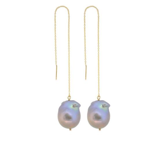 Gray Baroque Pearl Threader Earrings