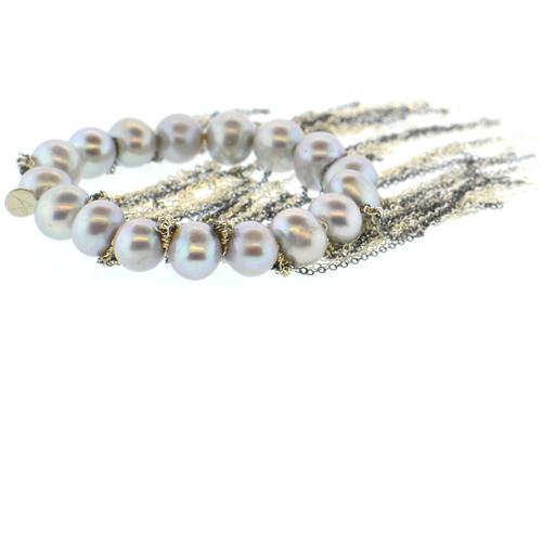 Gray Potato Pearl Stellenbosch Bracelet with Silver Fringe