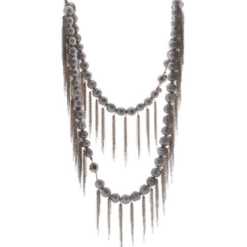 Gray Potato Pearl Stellenbosch Necklace with Silver Fringe