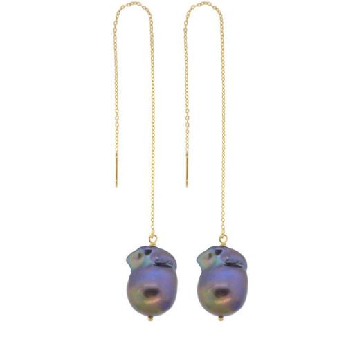 Peacock Baroque Pearl Threader Earrings