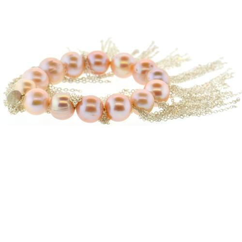 Pink Potato Pearl Stellenbosch Bracelet with Silver Fringe