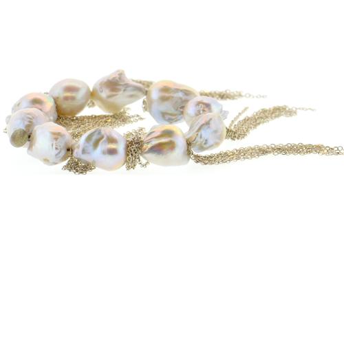 White Baroque Pearl Stellenbosch Bracelet with Silver Fringe